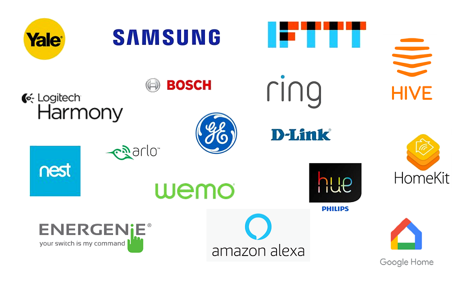 Logos of some of the smart home providers including nest, Hive, Philips Hue, Ring, Google home and Amazon Alexa.