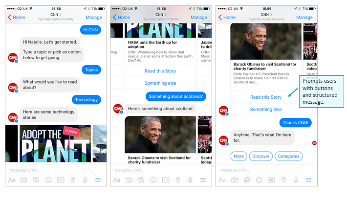 interaction with CNN news chatbot via Facebook Messenger