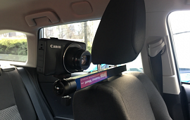 Camera mounted on car headset