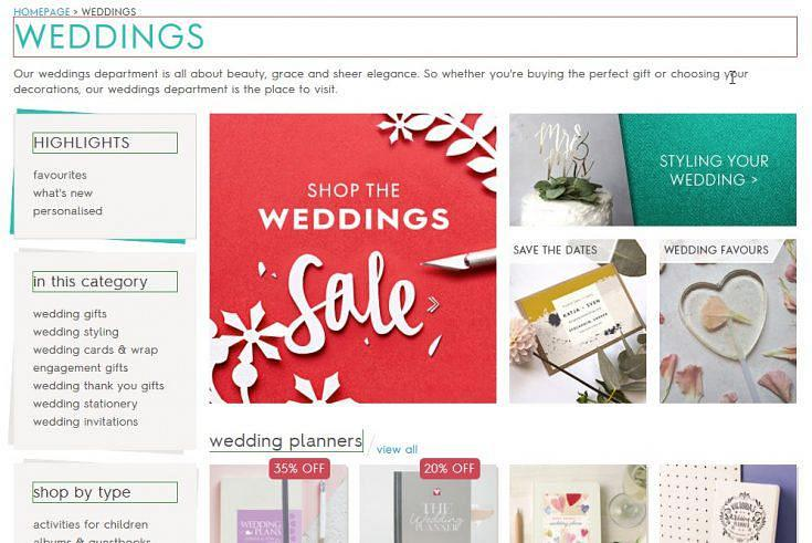 Heading layout on the wedding category page on notonthehighstreet.com