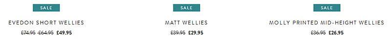 Example of the pricing for sale items on joules.com