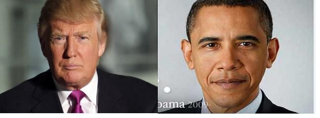 images of Donald Trump and Barack Obama