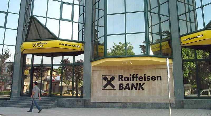 The outside wall of Raiffeisen Bank's building
