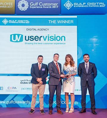 The User Vision team receiving the reward