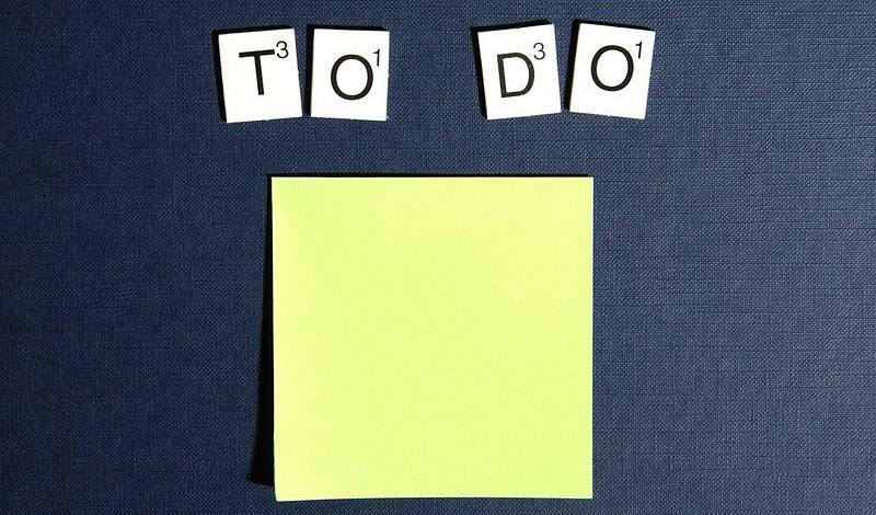 To Do in Scrabble letters above a sticky note