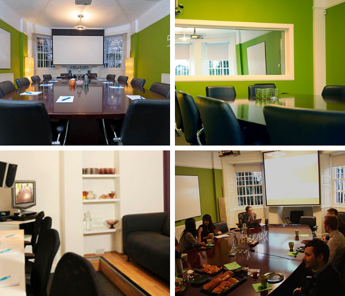 A collage of photos showing a room with green walls either empty or with a team of people having a discussion