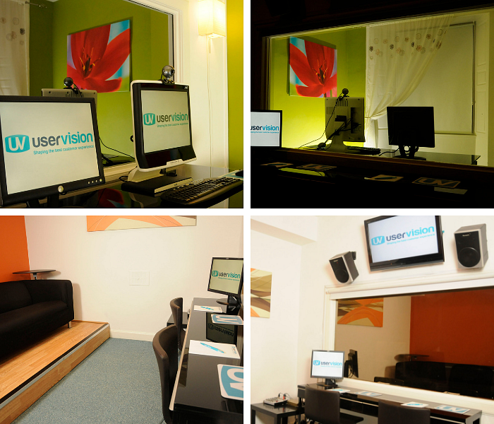 A collage of photos showing a user testing studio set up with monitors with front facing cameras and one way mirror and the observing room behind it