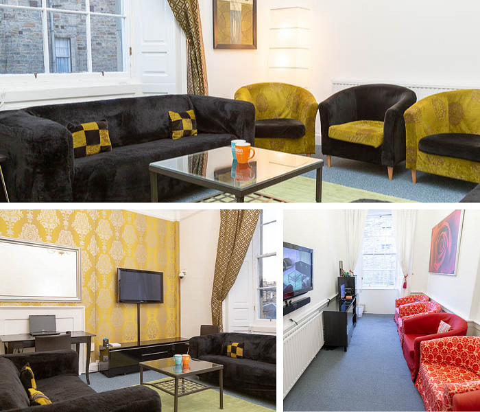 A collage of photos showing three lounge rooms set up with sofas and arm chairs