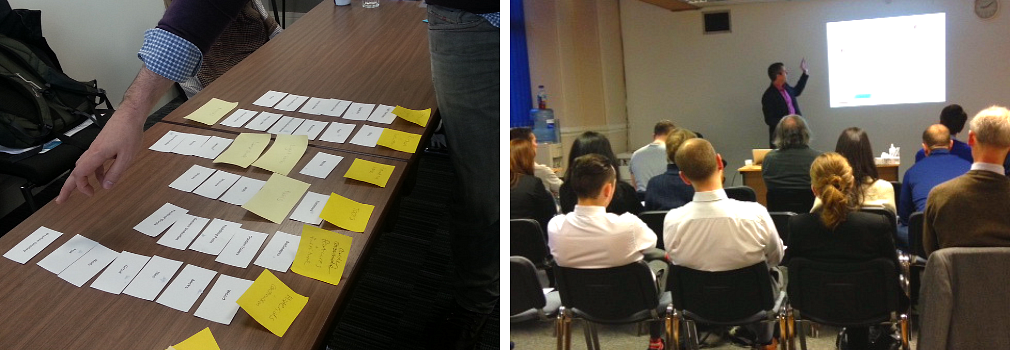 A collage of photos showing post-it notes on a table and a person giving a presentation to an audience