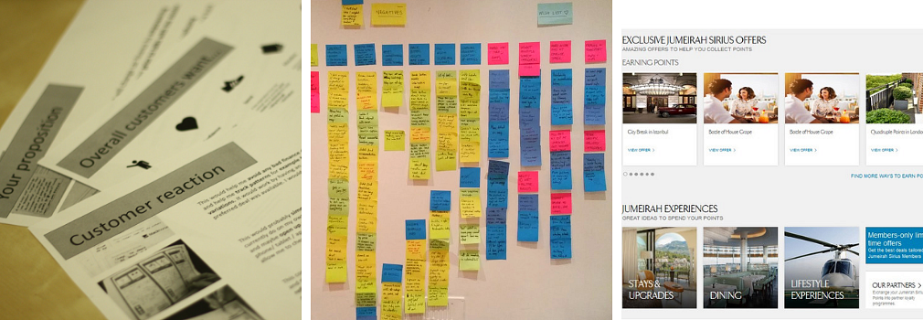 A collage of photos showing documents on a table, post it notes on a wall and a website listing in lanes